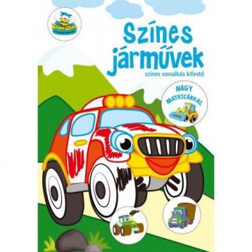 SZÍNES JÁRMŰVEK - SZÍNES VONALKÁS KIFESTŐ NAGY MATRICÁKKAL - Ekönyv - SZALAY KÖNYVKIADÓ ÉS KERESKEDOHÁZ KFT.